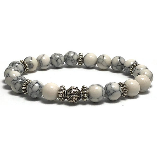 Howlite Womens Stretch Bracelet