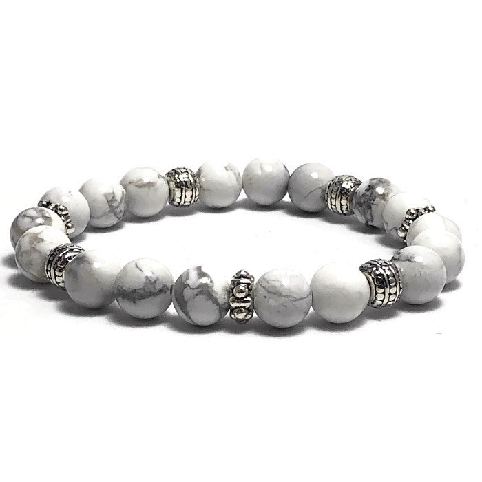 Marshmallow White Howlite Stretch Bracelet