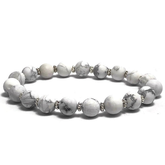 Frosted White Howlite Stretch Bracelet