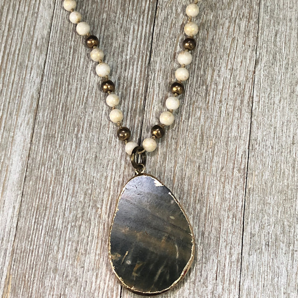 Unakite Stone Pendant Necklace
