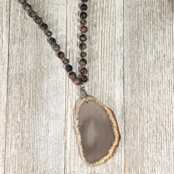 Rainforest Agate with Quartz Slice Pendant Necklace