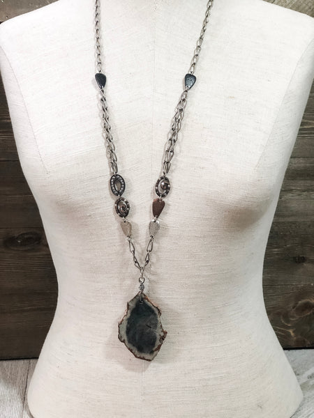 Detailed Owyhee Jasper Pendant Necklace