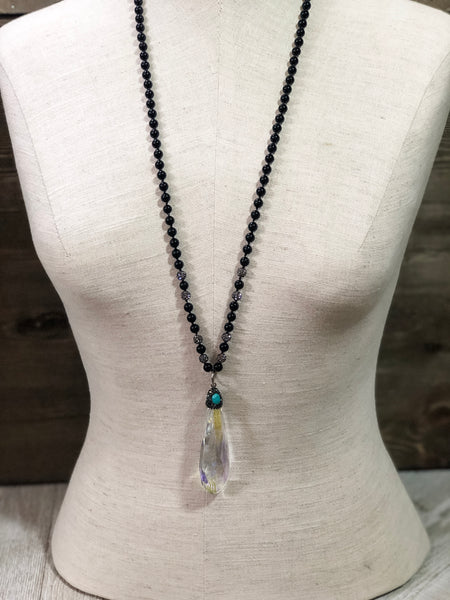 Crystal Pendant with Black Accents Pendant Necklace