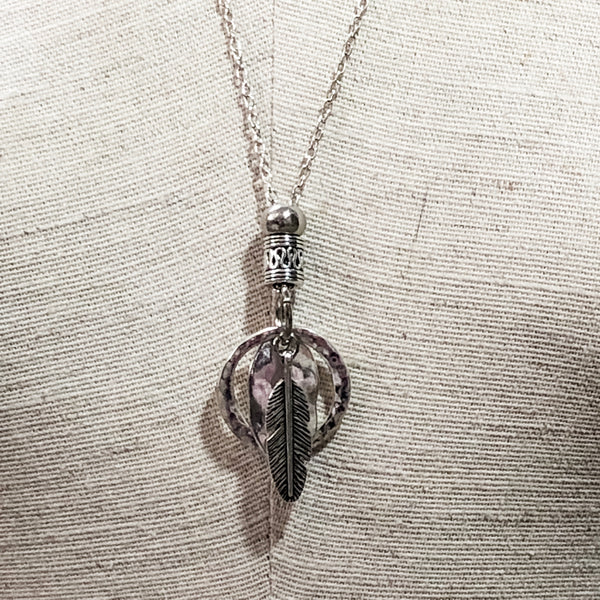 Silver Feather Cluster Pendant Necklace