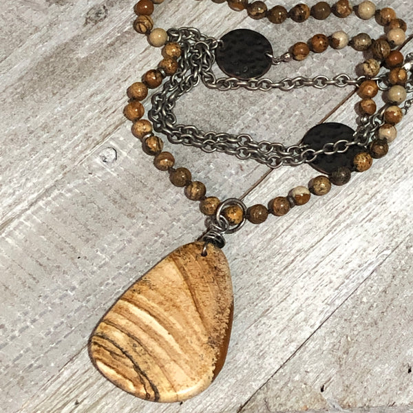 Beluge Picture Jasper Pendant Necklace