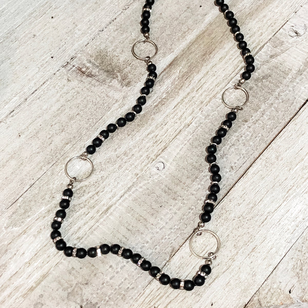 Matte Black Agate Ringed Necklace