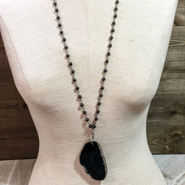 Black Agate Slice Pendant Necklace