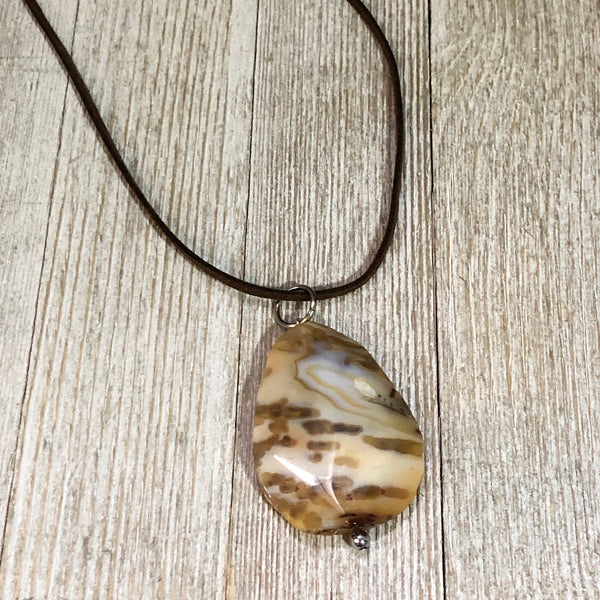 Marbled Agate Slice Pendant Necklace