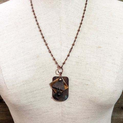 Angled Rustic Copper Pendant Necklace