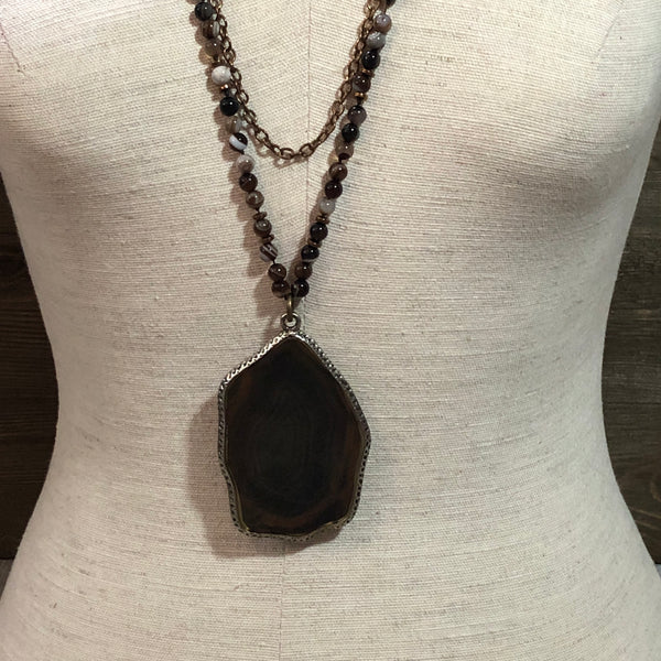Double Layer Marbled Agate Pendant Necklace