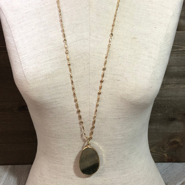 Unakite Golden Pendant Necklace