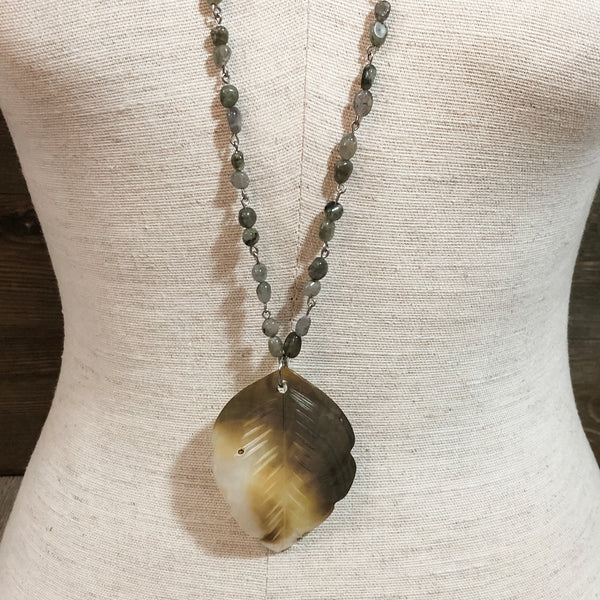 Shell Feather Pendant Necklace
