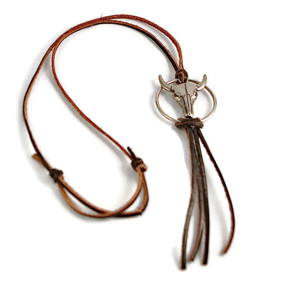 Leather Cowskull Necklace