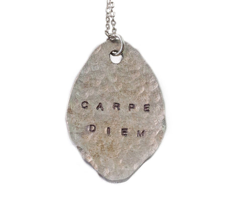 Carpe Diem Hammered Spoon Necklace