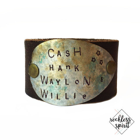 Cash, Hank, Waylon, and Willie Leather Cuff Bracelet
