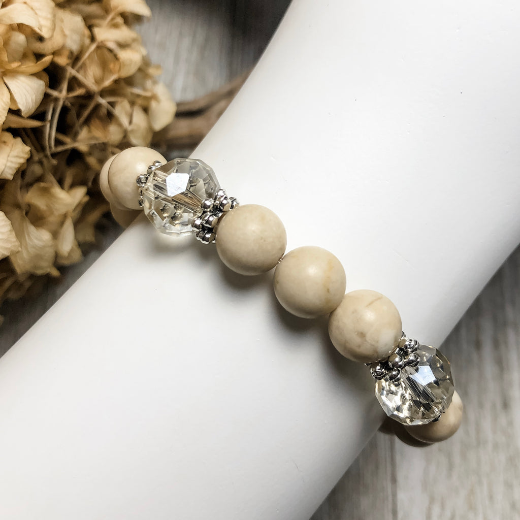 Create Your Own Gemstones Collection - Coconut Cream Beaded Stretch Bracelet