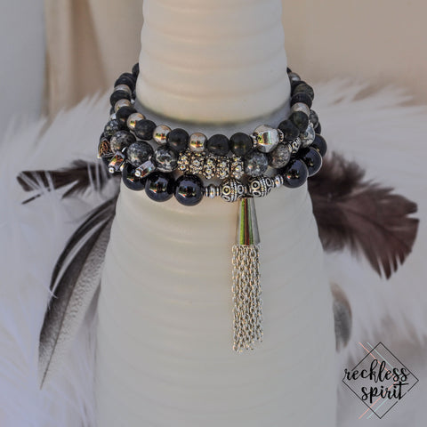 Candlelight Tassel Stackable Stretchy Bracelet Set