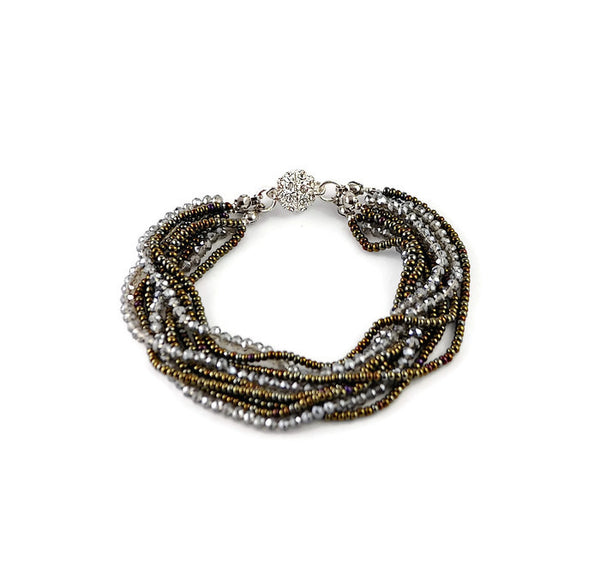 Faceted Crystal Multi-Strand Bracelet with Pave Rhinestone Closure