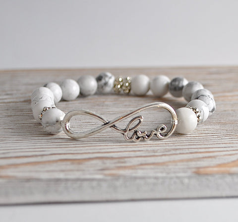 Love You For Infinity Stretch Bracelet - Howlite