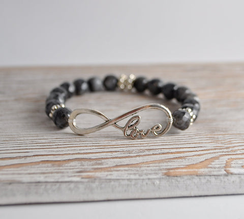 Love You For Infinity Stretch Bracelet - Labradorite