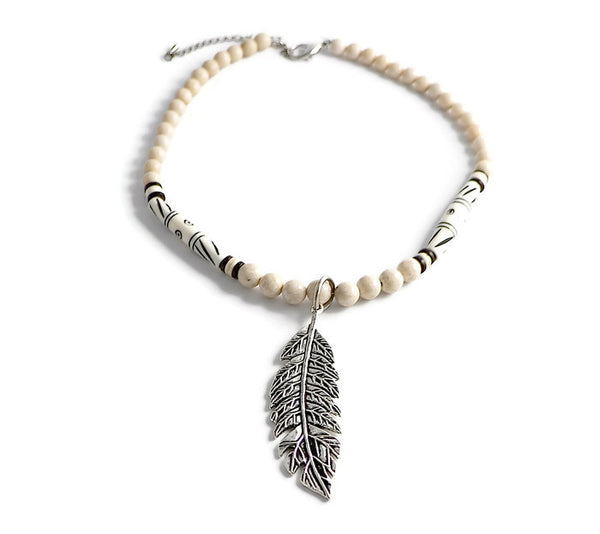 Heritage Gemstone Feather Pendant Choker Necklace