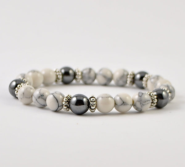 Howlite Womens Stretchy Bracelet