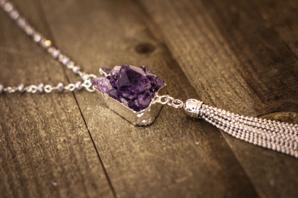 Amethyst Crystal Tassel Necklace