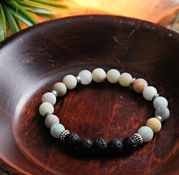 Amazonite Women's Aromatherapy Lava Stretch Bracelet