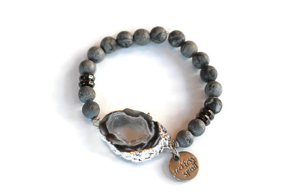 Smoky Geode Agate Beaded Stretch Bracelet