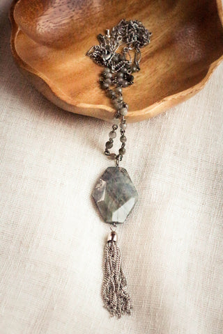 Be Strong Labradorite Tassel Necklace