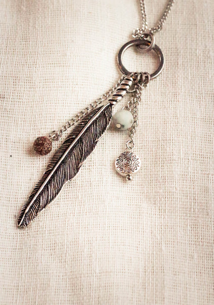 Sweet Matti Feather Pendant Necklace
