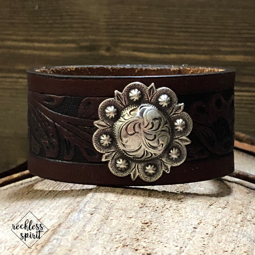 Cafe Cowgirl Leather Cuff Bracelet One-Of-A-Kind