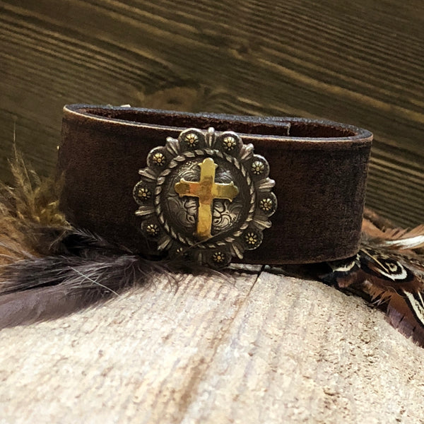 Faith Leather Cuff Bracelet One-Of-A-Kind