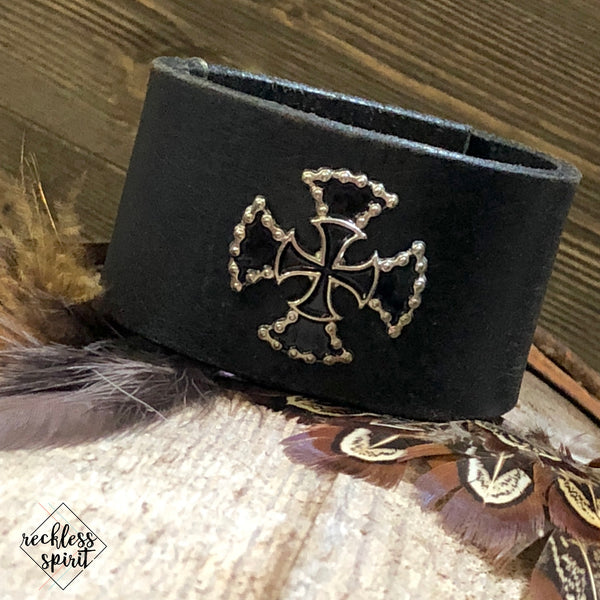 Ride High Leather Cuff Bracelet One-Of-A-Kind