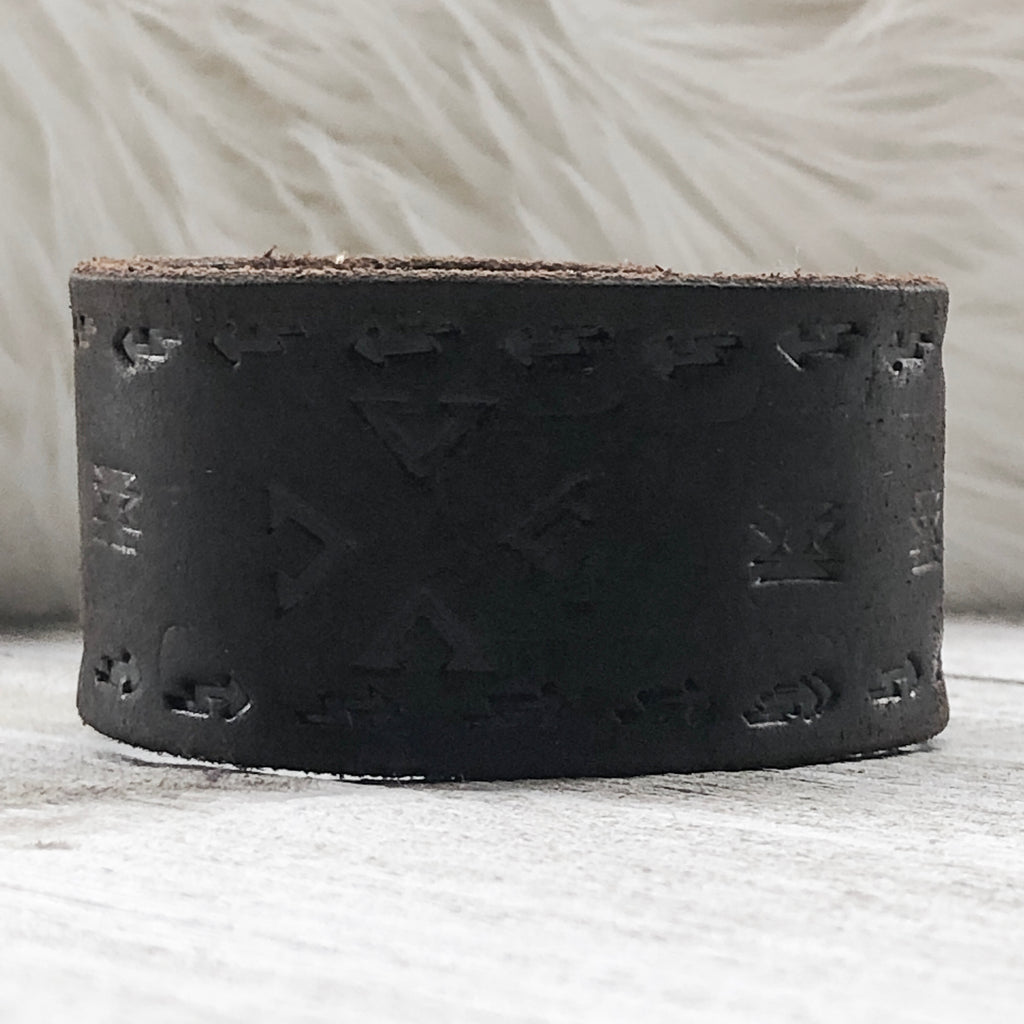 Espresso Hand Tooled Leather Cuff Bracelet