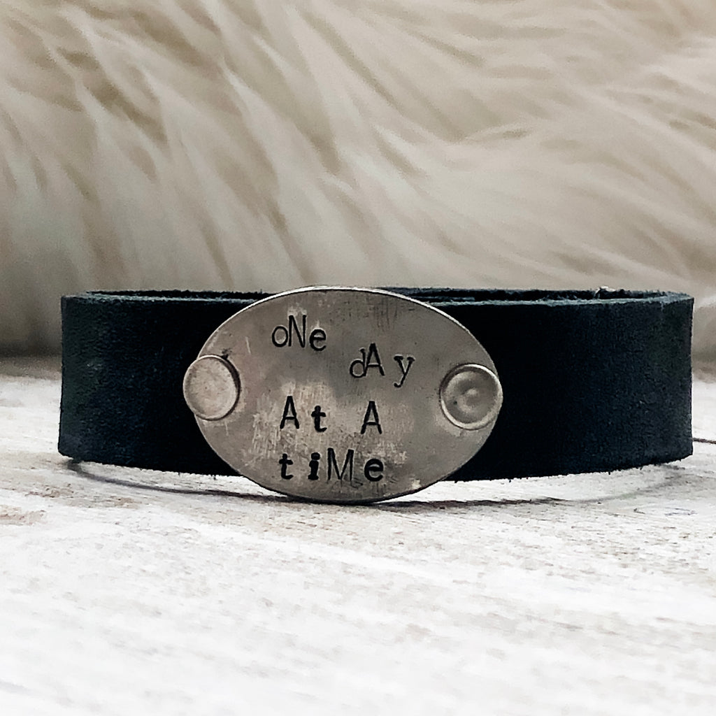 Black Leather One Day at a Time Leather Cuff Bracelet