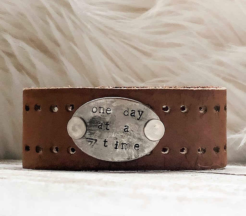 One Day at a Time Leather Cuff Bracelet