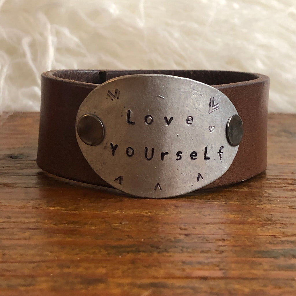Love Yourself Leather Cuff Bracelet