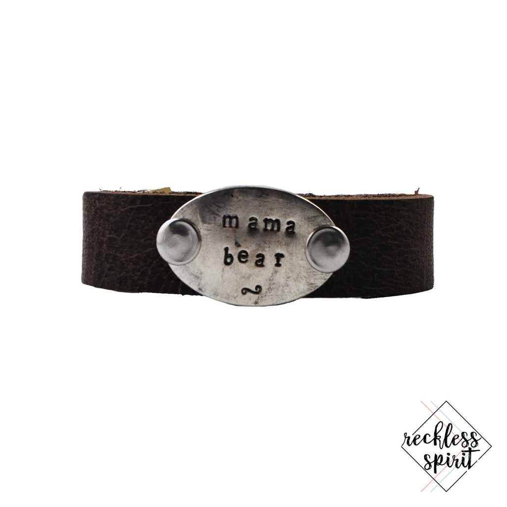 WORD CUFF: Mama Bear Thin Brown Leather Cuff Bracelet