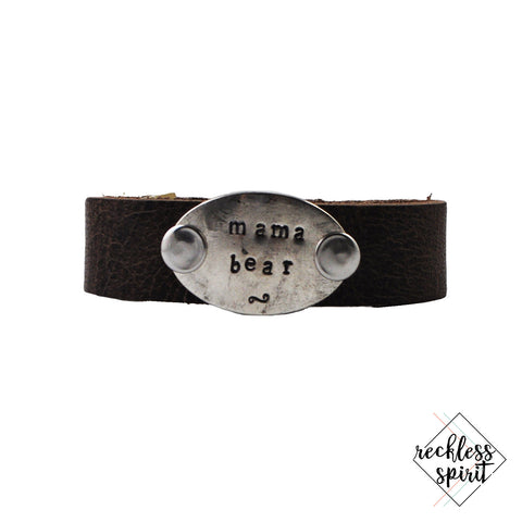 Mama Bear Thin Brown Leather Cuff Bracelet