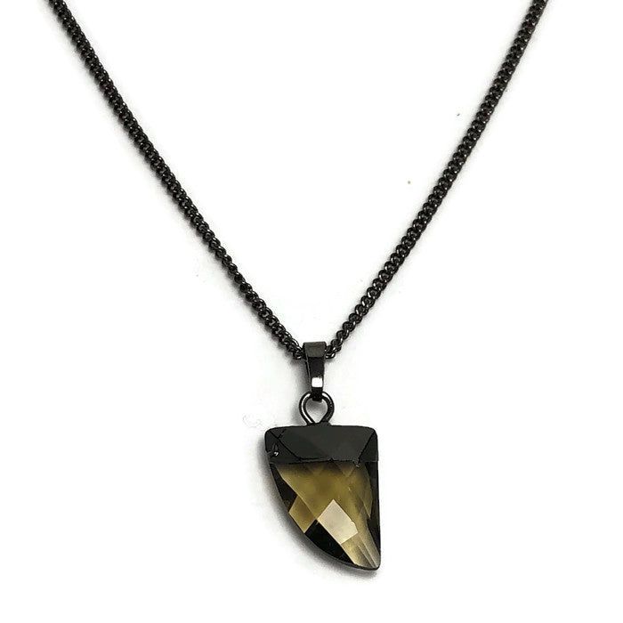 Faceted Crystal Shark's Tooth Layering Necklace