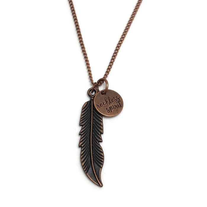 Reckless Spirit Copper Feather Layering Necklace