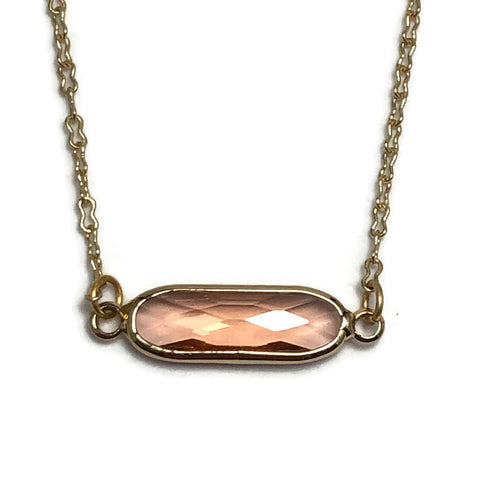 Golden Faceted Apricot Crystal Layering Necklace