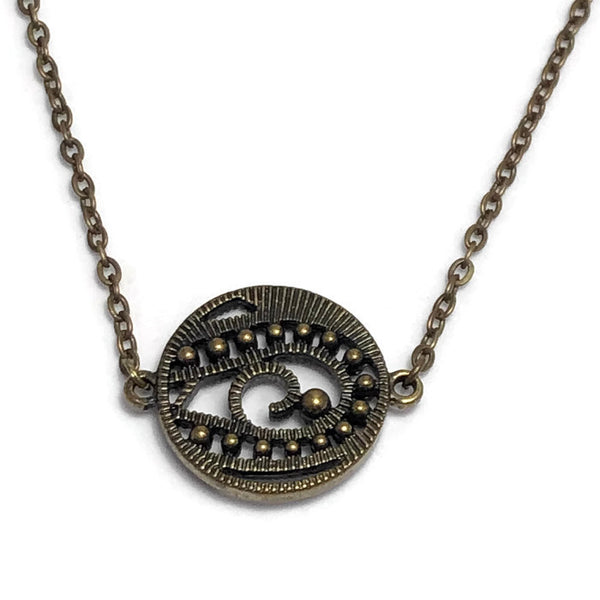 Antique Bronze Gazing Ball Layering Necklace