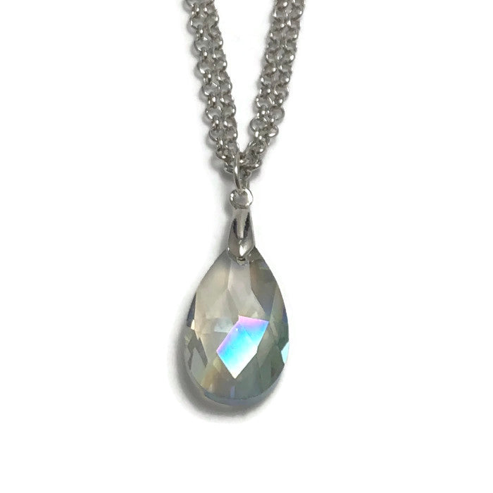 Iridescent Faceted Crystal Pendant Layering Necklace