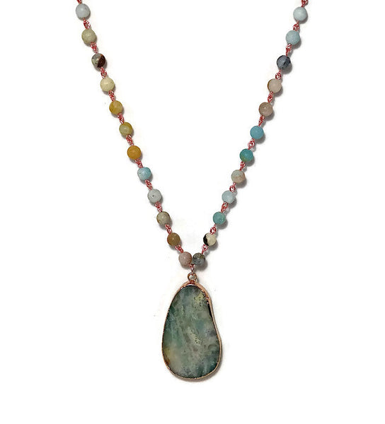 Blazing Sunrise Amazonite Pendant Necklace