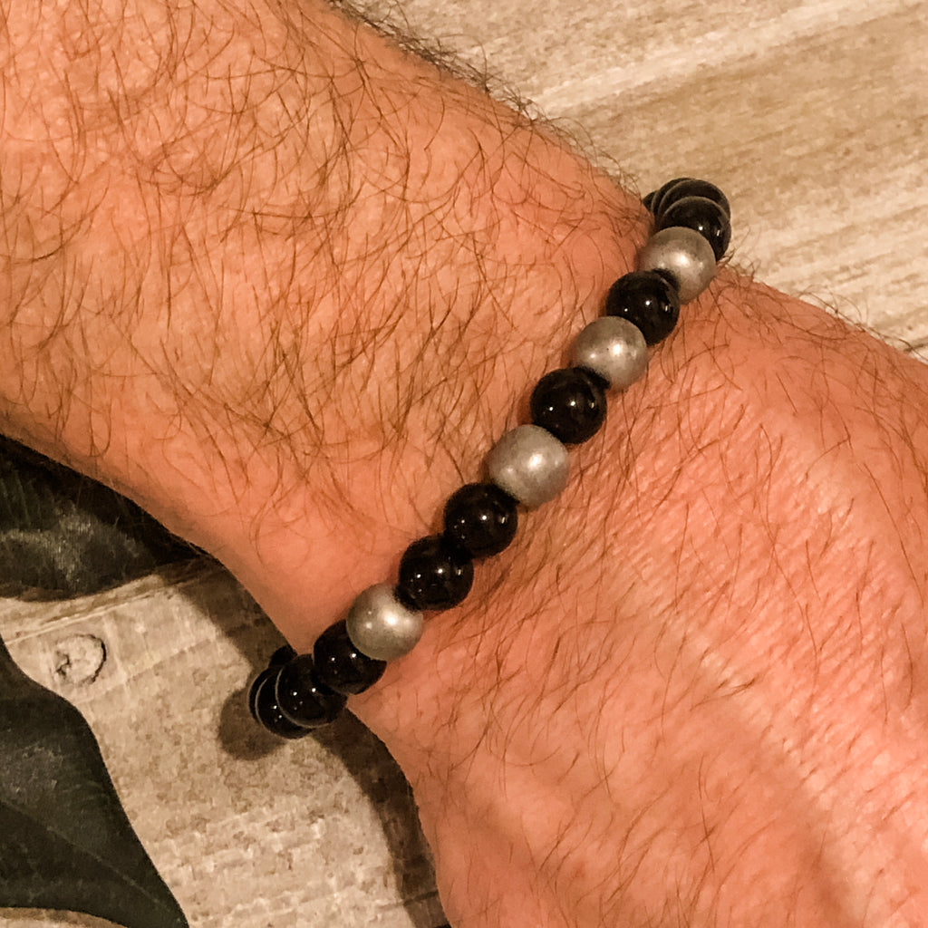 Create Your Own - Unisex Brilliant Charcoal Beaded Stretch Bracelet