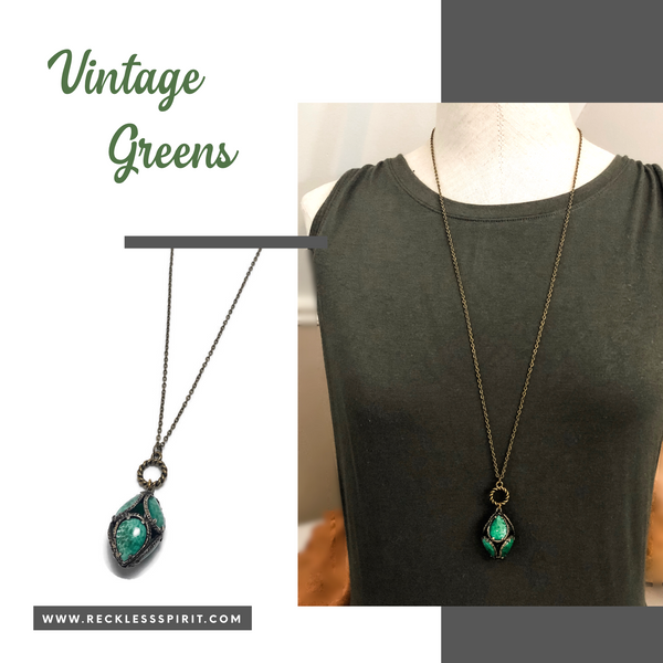 Vintage Greens Pendant Necklace