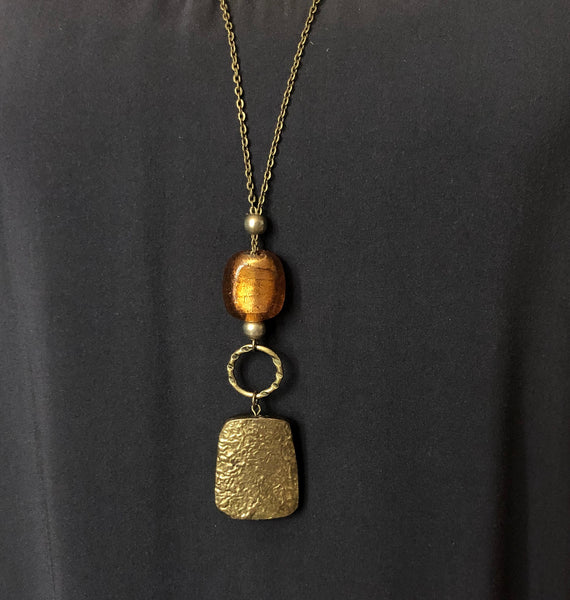 Hammered Embers Pendant Necklace