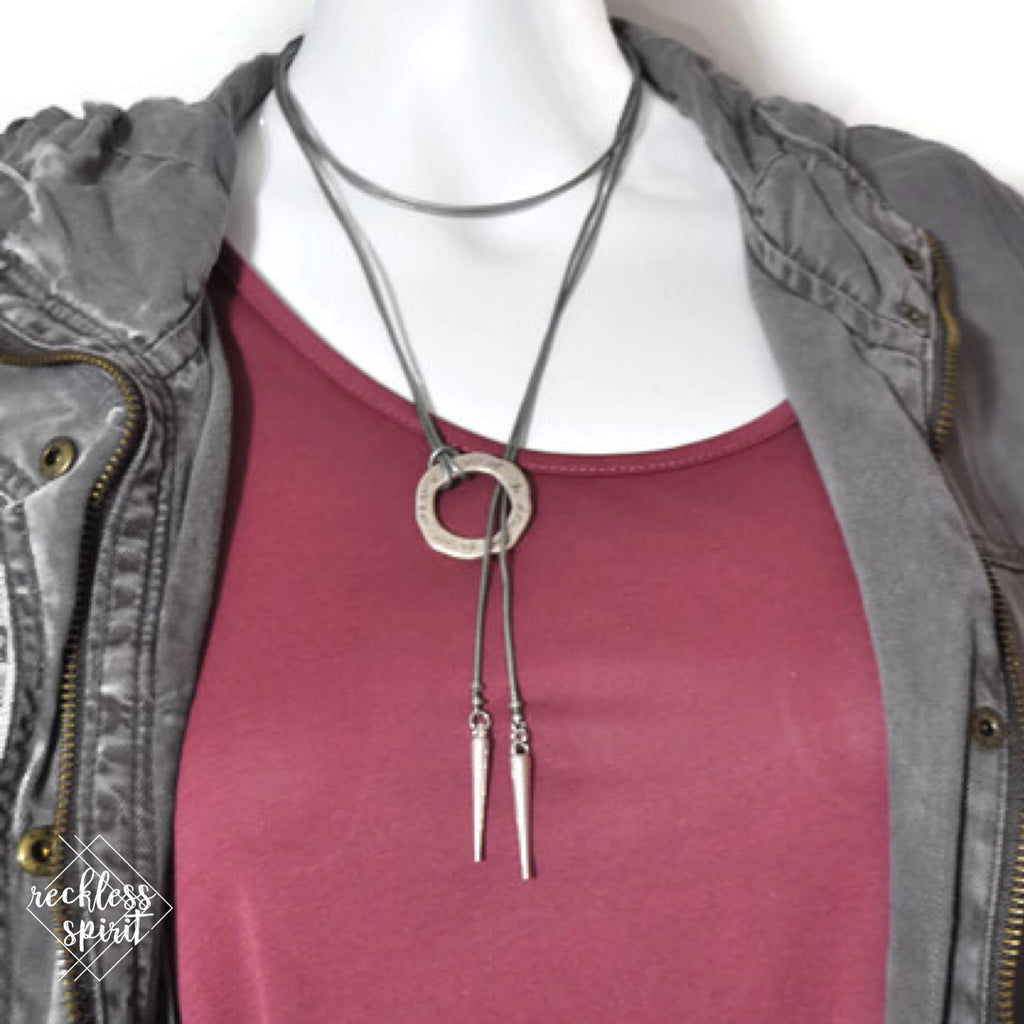 Silver Leather Lariat Wrap Necklace